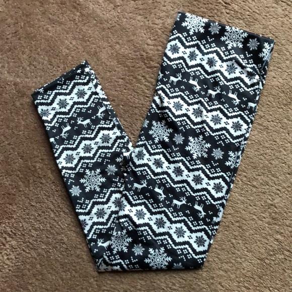 West Loop Snowflake Reindeer Fleece Black White Holiday Print NWT Leggings XL